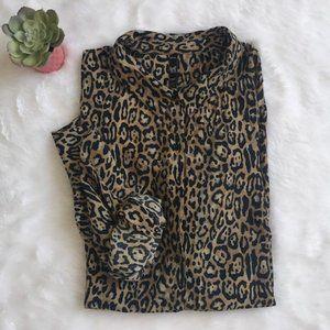 Zara TRF Button Front Leopard Print Blouse EUC